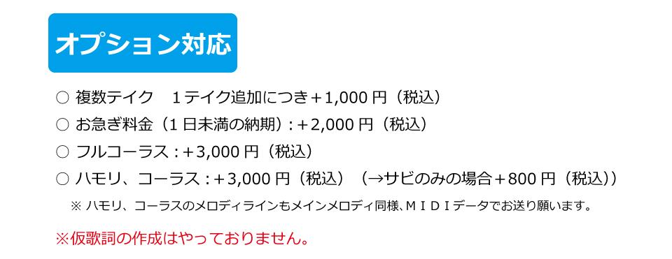 オプション。お急ぎ3,000円。フルコーラス3,000円。ハモリ、コーラス3,000円。